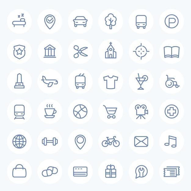 Conjunto de ícones de linha para mapas, navegação Vetor Premium