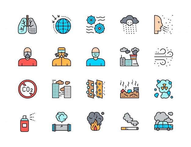 Conjunto de ícones de linha plana cor de poluição. poeira de ar, sistema respiratório, máscara protetora Vetor Premium