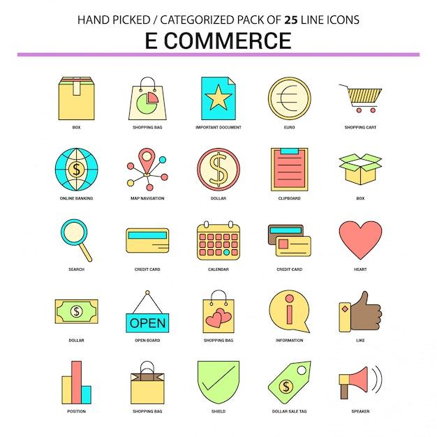 Conjunto de ícones de linha plana de comércio eletrônico Vetor grátis