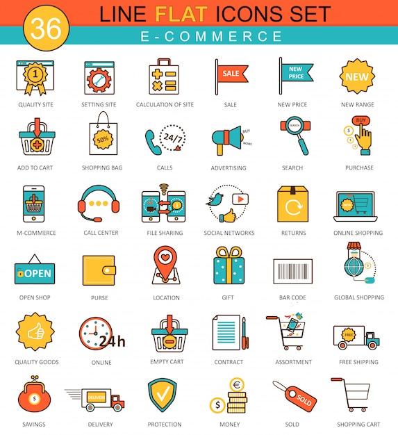 Conjunto de ícones de linha plana de comércio eletrônico Vetor Premium
