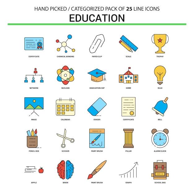 Conjunto de ícones de linha plana de educação Vetor Premium