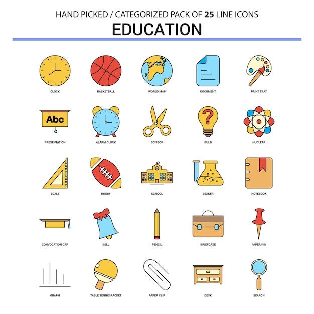 Conjunto de ícones de linha plana de educação Vetor grátis