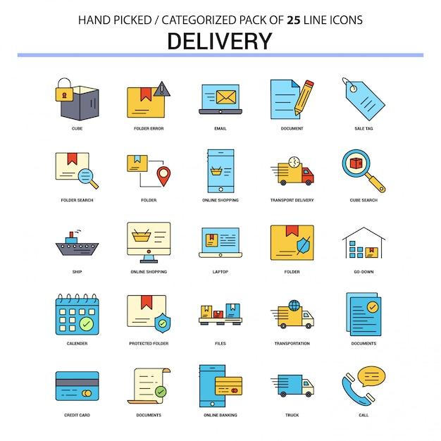 Conjunto de ícones de linha plana de entrega Vetor Premium