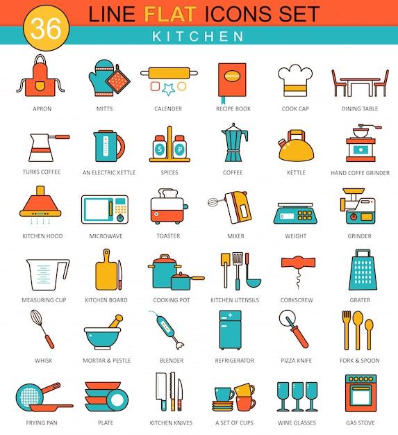 Conjunto de ícones de linha plana de ferramentas de cozinha Vetor Premium