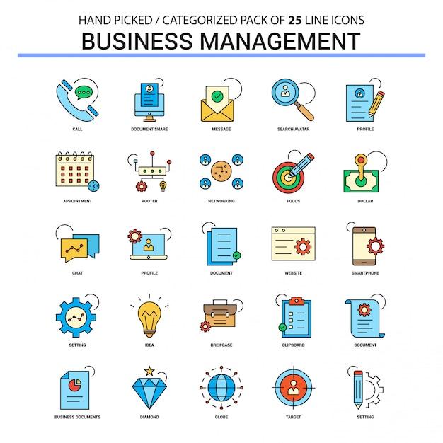 Conjunto de ícones de linha plana de gestão de negócios Vetor Premium
