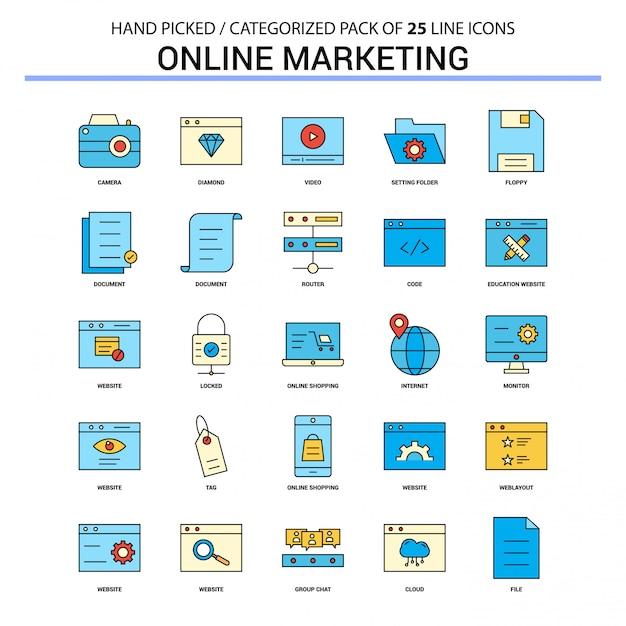 Conjunto de ícones de linha plana de marketing on-line Vetor grátis
