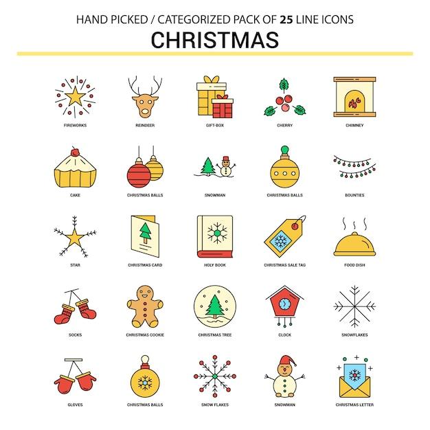 Conjunto de ícones de linha plana de natal Vetor grátis