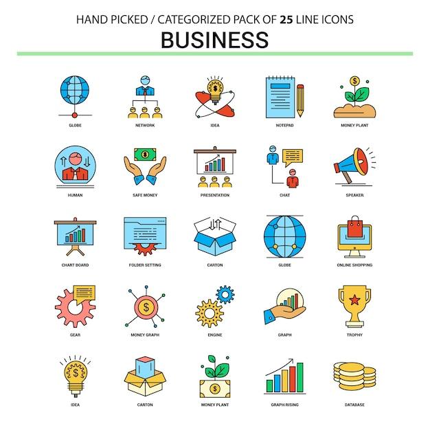 Conjunto de ícones de linha plana de negócios Vetor Premium