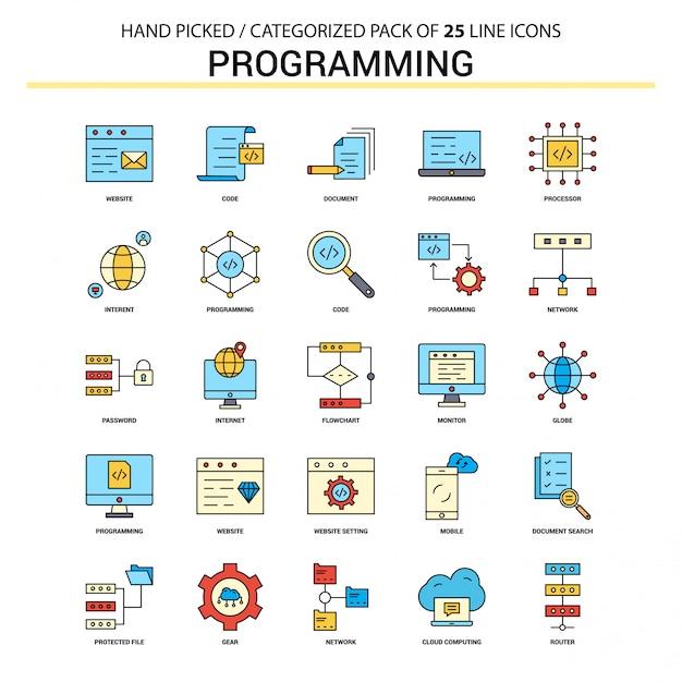 Conjunto de ícones de linha plana de programação Vetor grátis