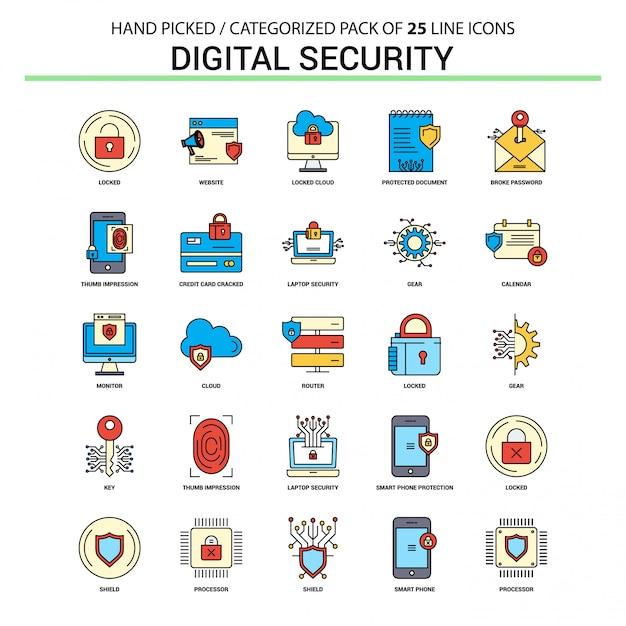Conjunto de ícones de linha plana de segurança digital Vetor Premium