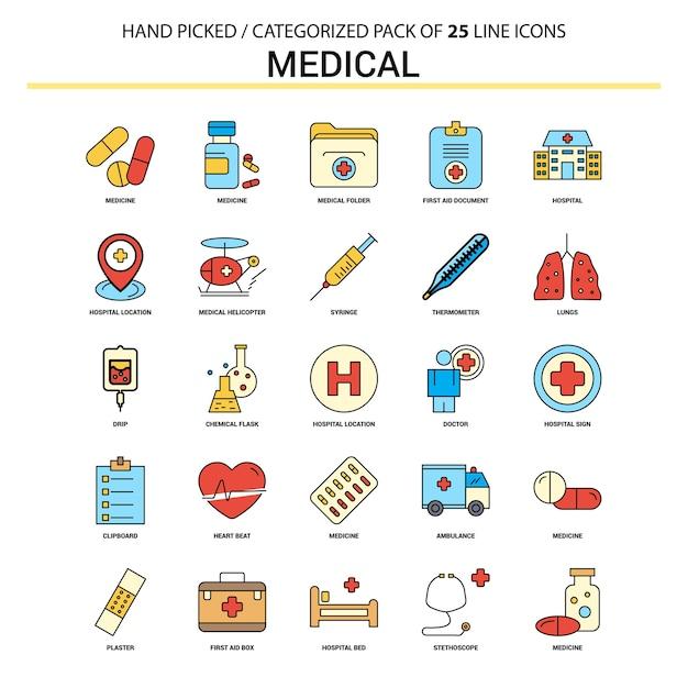 Conjunto de ícones de linha plana médica Vetor Premium