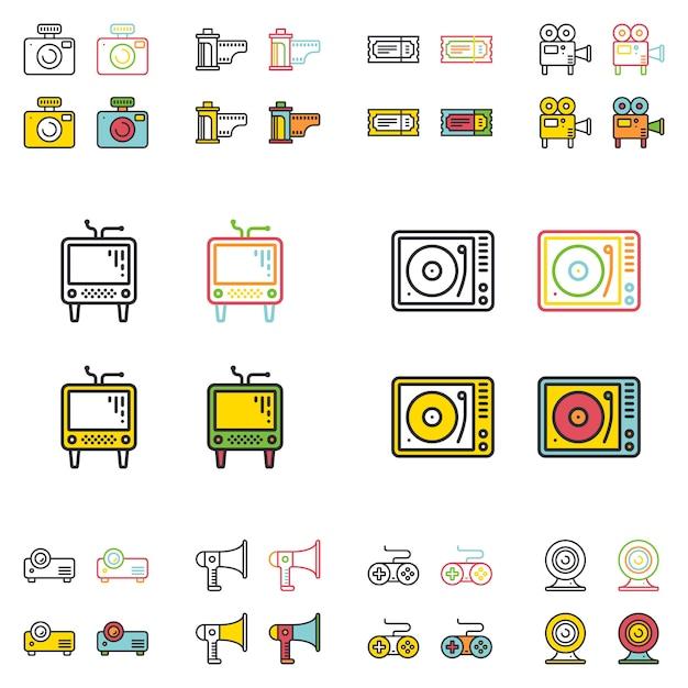 Conjunto de ícones de linha plana simples multimídia retrô. Vetor Premium