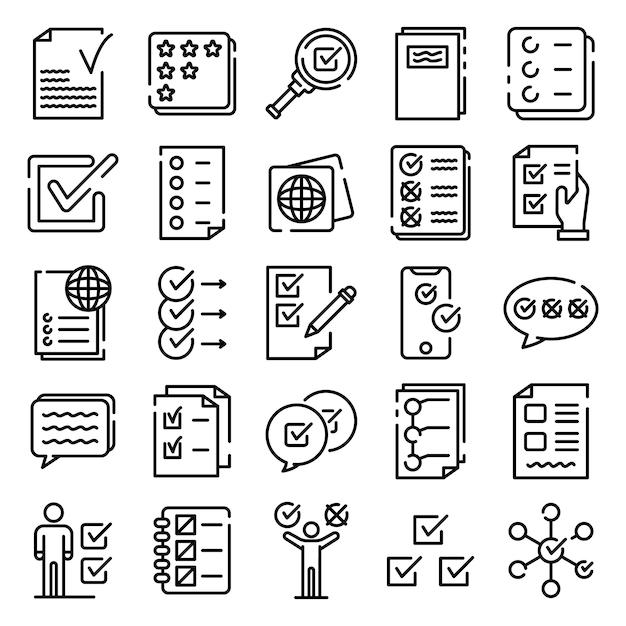 Conjunto de ícones de lista de verificação, estilo de estrutura de tópicos Vetor Premium