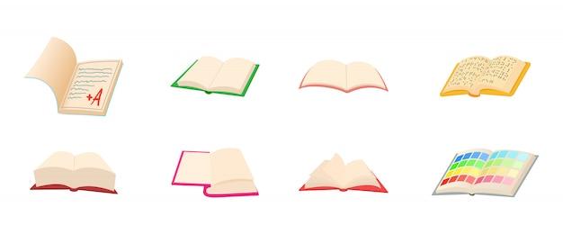 Conjunto de ícones de livro aberto Vetor Premium