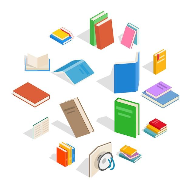 Conjunto de ícones de livro, estilo 3d isométrico Vetor Premium