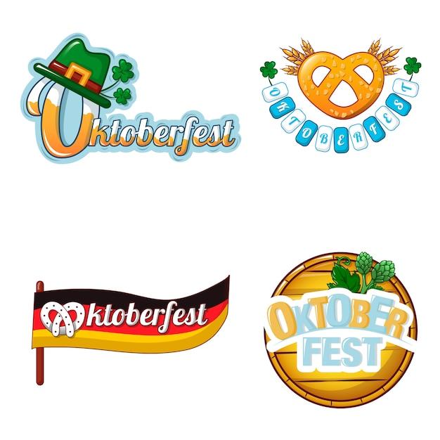 Conjunto de ícones de logotipo de cerveja octoberfest Vetor Premium