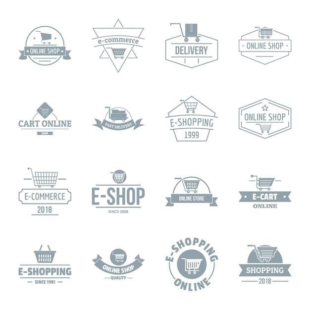 Conjunto de ícones de logotipo de compras Vetor Premium