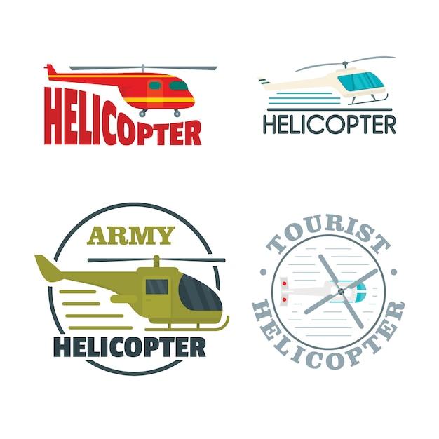 Conjunto de ícones de logotipo de helicóptero drone Vetor Premium