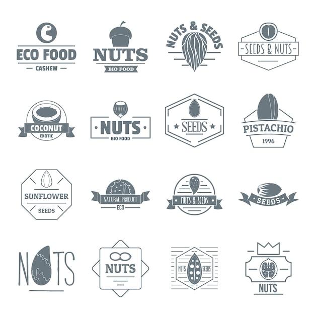 Conjunto de ícones de logotipo de sementes de nozes Vetor Premium