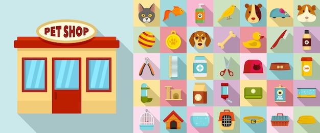 Conjunto de ícones de loja de animais Vetor Premium