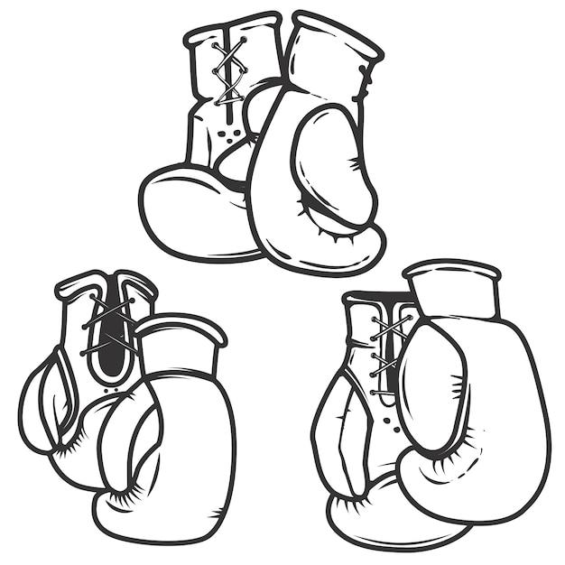 Conjunto de ícones de luvas de boxe em fundo branco. elementos para o logotipo, etiqueta, emblema, sinal, cartaz. ilustração. Vetor Premium
