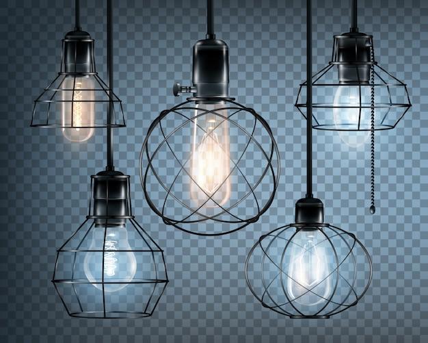 Conjunto de ícones de luzes de estilo loft Vetor grátis