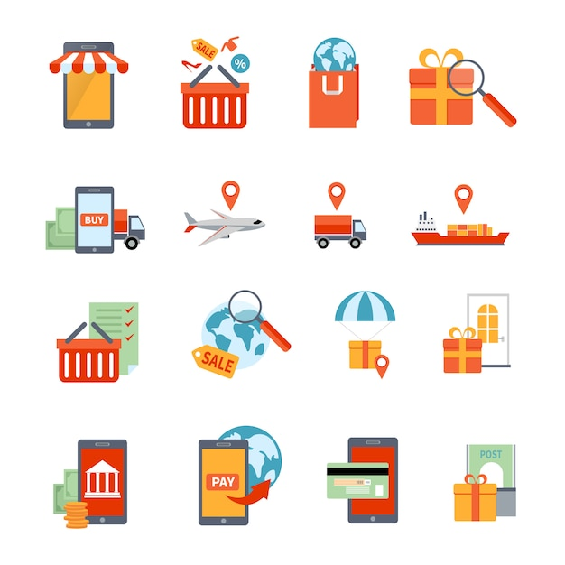 Conjunto de ícones de m-commerce Vetor grátis