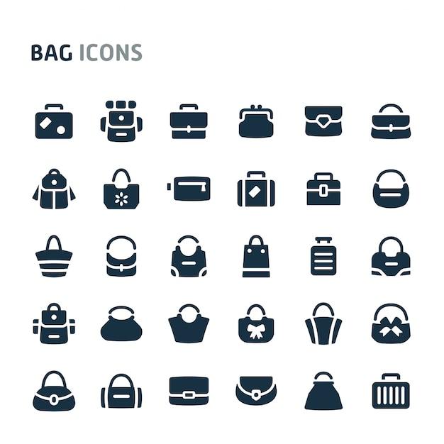 Conjunto de ícones de malas. série de ícone preto fillio. Vetor Premium