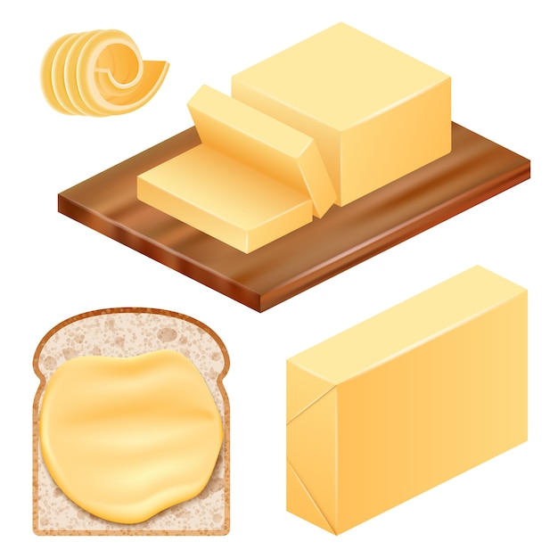 Conjunto de ícones de manteiga Vetor Premium