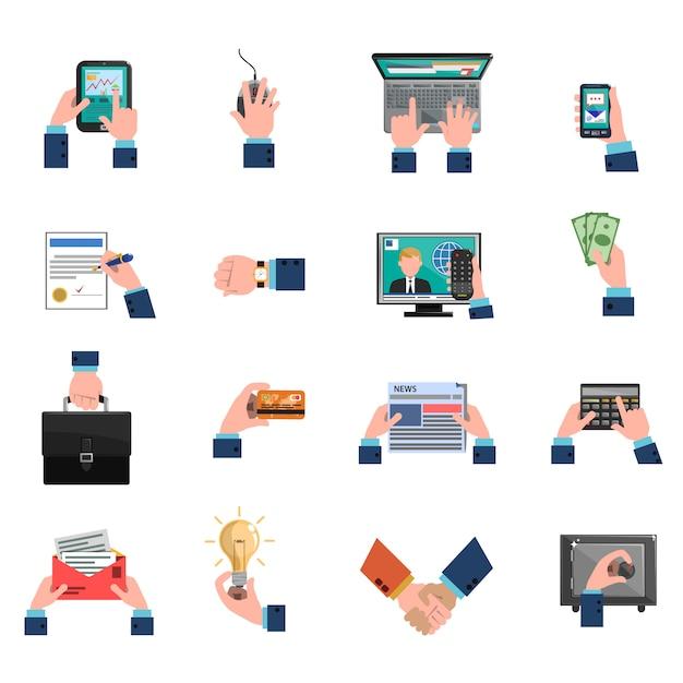 Conjunto de ícones de mãos de negócios plana Vetor grátis