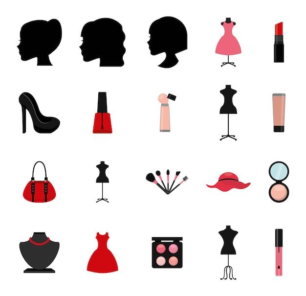 Conjunto de ícones de maquiagem isolado Vetor grátis