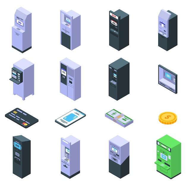 Conjunto de ícones de máquina atm, estilo isométrico Vetor Premium