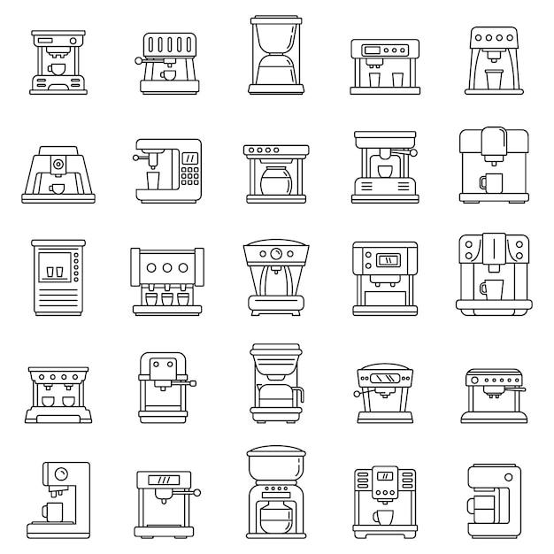 Conjunto de ícones de máquina de café automática, estilo de estrutura de tópicos Vetor Premium