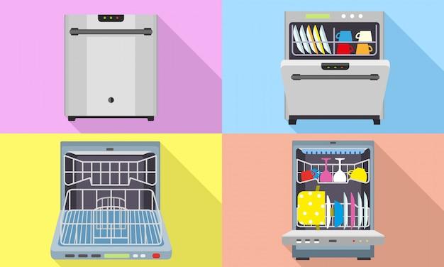 Conjunto de ícones de máquina de lavar louça. conjunto plano de vetor de máquina de lavar louça Vetor Premium