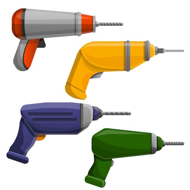 Conjunto de ícones de máquina de perfuração, estilo cartoon Vetor Premium