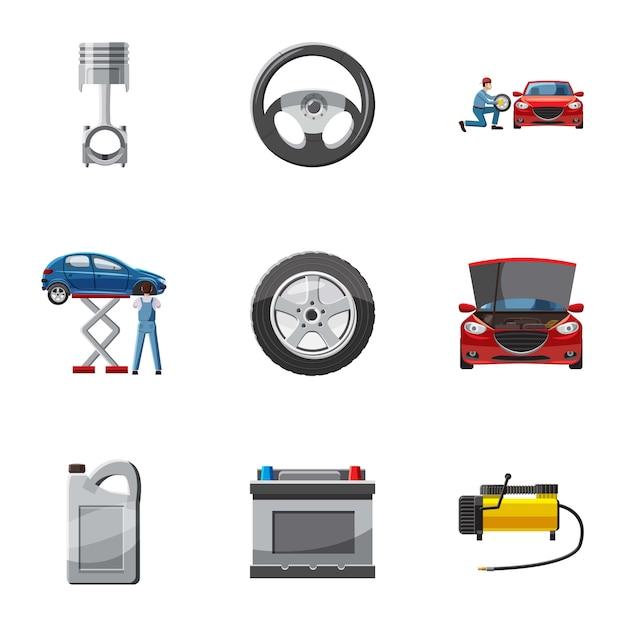 Conjunto de ícones de máquina de reparação, estilo cartoon Vetor Premium