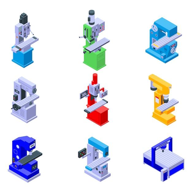 Conjunto de ícones de máquina de trituração Vetor Premium