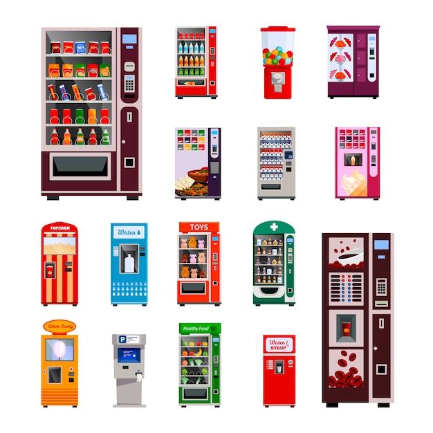 Conjunto de ícones de máquinas de venda com máquinas de café e água de brinquedos Vetor grátis