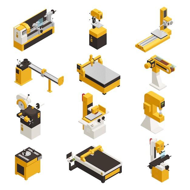 Conjunto de ícones de máquinas industriais com tecnologia símbolos isométrico isolado Vetor grátis