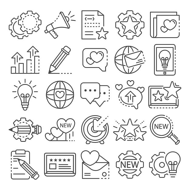 Conjunto de ícones de marca. conjunto de contorno de ícones do vetor de marca Vetor Premium