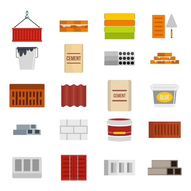Conjunto de ícones de material de construção. plano conjunto de coleção de ícones vetor material construcion isolado Vetor Premium