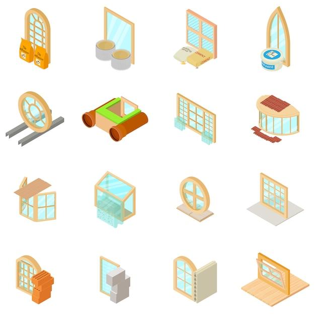 Conjunto de ícones de material de janela, estilo isométrico Vetor Premium