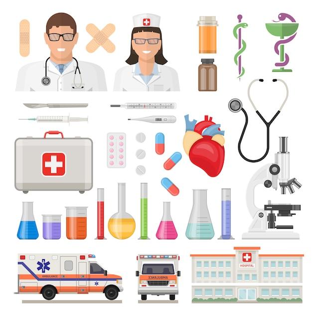 Conjunto de ícones de medicina plana Vetor grátis