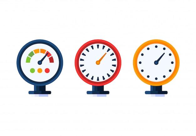 Conjunto de ícones de medidor de água de pressão. Vetor Premium