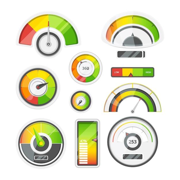 Conjunto de ícones de medidores de nível Vetor Premium
