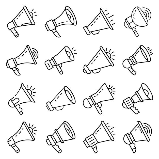 Conjunto de ícones de megafone. conjunto de contorno dos ícones do vetor de megafone Vetor Premium