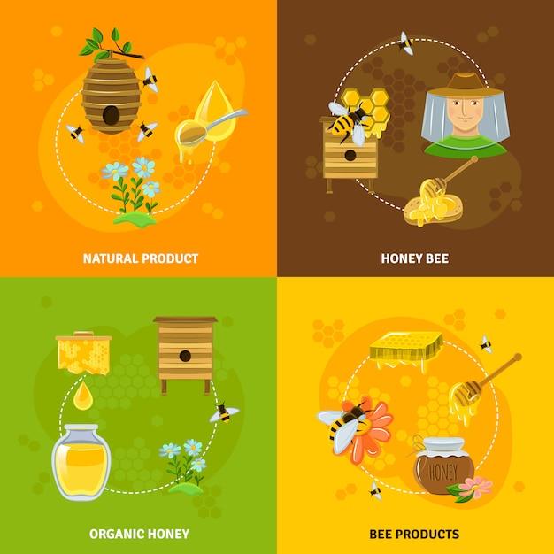Conjunto de ícones de mel e abelhas Vetor grátis