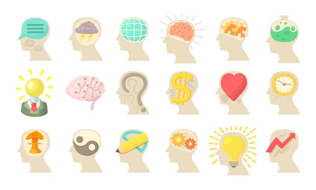 Conjunto de ícones de mente humana Vetor Premium