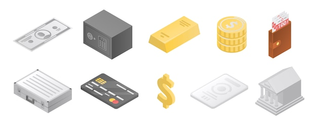 Conjunto de ícones de metais do banco, estilo isométrico Vetor Premium