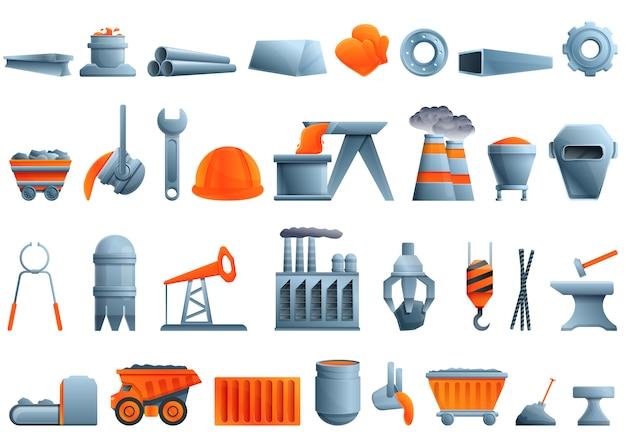 Conjunto de ícones de metalurgia, estilo cartoon Vetor Premium